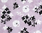 Last piece - 1.5 yards Twilight Graphic Floral Lavender/Black premium cotton quilting fabric designed by Kate Knight for Quilting Treasures