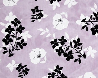 Twilight Graphic Floral Lavender/Black premium cotton quilting fabric designed by Kate Knight for Quilting Treasures