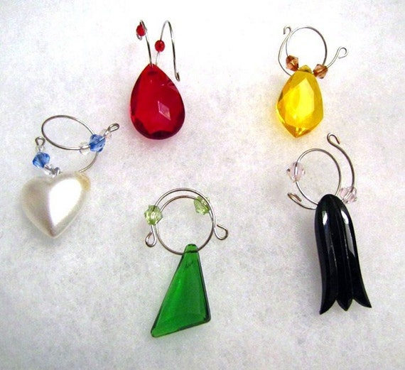 Wine Glass Charms Set yellow crystal red crystal green glass black tulip white heart swarovski crystal