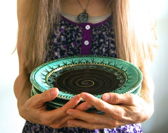 """Handmade 9"""" Dinner Plate, Wheel Thrown Pottery in brown and green by RiverStone Pottery"""
