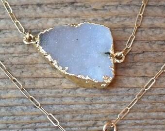 Druzy Agate Necklace Electroformed 24kt Gold