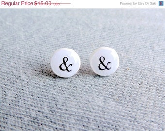 Ampersand Stud Earrings Ampersand Earrings Sign Stud Earrings You And Me Mr and Mrs Wedding Earrings Bridal Jewelry For Him For Her