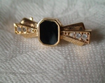 Bowtie Brooch, Pin, Featuring Black Polished Stone and Six Rhinestones, Tasteful and Traditional