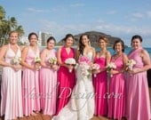 Bridesmaid Dress, Convertible Bridesmaids Dress - Pink Ombre effect ** Over 50 Colors **