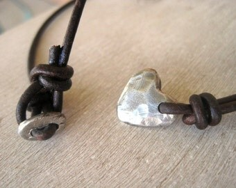 Rustic Artisan Heart Handmade PMC Sterling Silver Necklace Leather Strand