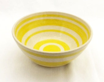 Yellow and White Striped Ceramic Bowl, Cereal Bowl, Salad Bowl, Snack Bowl