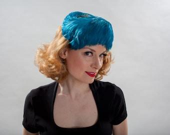 Vintage 1950s Blue Feather Hat - Union Made Wedding Chapeau - Bridal Fashions