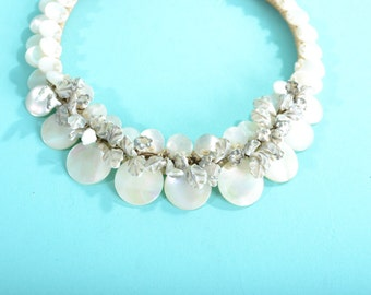 Vintage 1930s Mother of Pearl Necklace - Enameled Leaves - Bridal Fashions