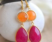 Dangle Earrings with Fuchsia Teardrop and Orange Jewels. Jewelry. Summer Earrings. Long Dangle Earrings. Bridesmaids. Wedding. Gift.