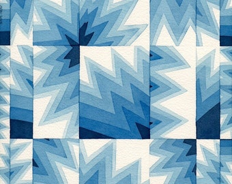 """Shades of Blue geometric shapes Original Watercolor Abstract Painting Modern Art, 12""""x16"""""""