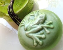 Frog Soap on a Rope, Green & White, Scented in Lavender Cedar or Choose a Scent, Handmade, Vegetable Based
