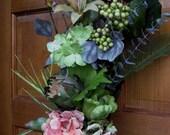 Fresh look door wreath/swag, spring into summer woodland wedding bouquet, hydrangea, tulip,  artichoke, Mother's Day