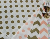 150 Coral and Gold Metallic Polka Dot and Chevron Party Bags, Gold and Coral Wedding Favor Bags, Candy Bags, Popcorn Bags, Gift Bags