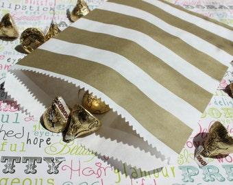 200 Gold Metallic Rugby Stripe Wedding Candy Favor Bags, Gold Rugby Party Bags, Rugby Favor Bags, Gold Candy Bags