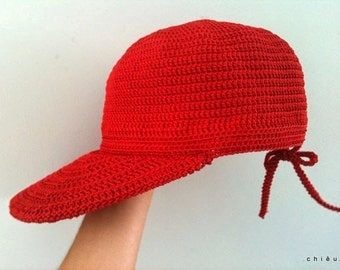 WOMEN cap hat visor bow tied adjustable back closure crochet polyster yarn thread baseball trucker