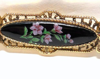 Victorian Revival Bar Pin Black enamel with Pink flowers Gold tone Rope & Filigree Frame Great gift Downton Abbey