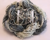 Grey Black Ecru Cream Beaded Embroidery thread with seed beads sequins hand dyed fibre art ribbon weaving quilting embellishment bead yarn