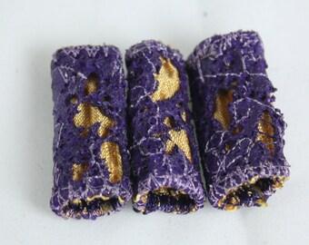 Fabric fiber bead Dreadlock bead eggplant purple gold fibre art beads scarf tassel embellishment weaving supply jewelry supply drop spindle