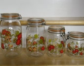 """Vintage Canisters - Canning Jars, Set Of 4 Sizes, ARC """"Spice O Life"""", Made in France, Wire Bale Closures, Rubber Gasket Seals, Kitchen Decor"""