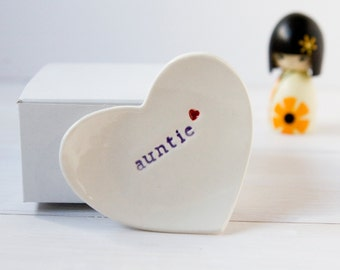 Gift For Auntie Heart Ring Dish, Auntie Gift - comes with gift box