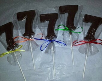 Number 7, Number Seven, Chocolate Lollipops,Birthday Party Favor, Centerpiece, Candy Table, #7