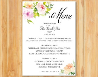 Floral Corners Dinner Wedding Menu 50qty, Reception Menu, Personalized Wedding Table Setting Custom Designed
