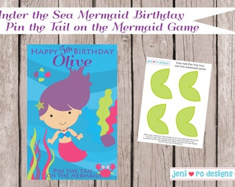 Pin the Tail on the Mermaid Under the Sea Birthday Printable Game - Personalized
