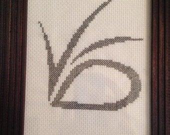 VFD logo - framed cross stitch