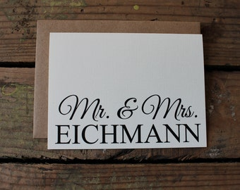 Wedding Thank You Cards with Envelopes / Custom New Last Name / Shower / Couples / Set of 10