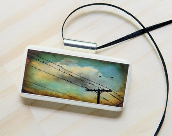 pendant, birds, flock, telephone wire, clouds, stormy, photo jewelry, vintage domino, teal, mint, robins egg blue