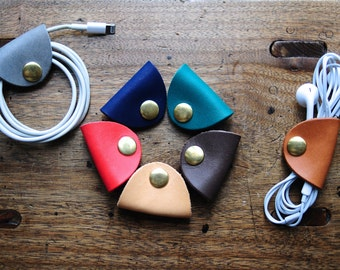 Artemis Leatherware Handmade Leather Earphone Holder - earbud - cable holder - cable organizer - earplug holder - organizer