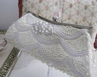 Faux Pearl Sequin with Removable Brooch accent Off White Wedding Bridal Bag Clutch Formal Wear