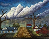 Landscape Painting of Country Village One-of-a-kind Fine Art