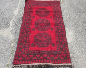 "Vintage Made in Pakistan Ersari Qarkin Area Sized Oriental Rug Red and Black 3' 7"" by 6' 2"""