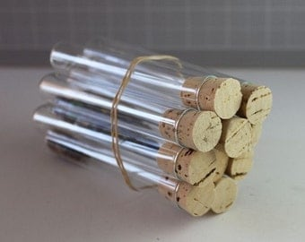 50 Clear Test Tubes and Corks - Candy Favor - Wedding - Party- GIfts or Packaging Wedding Favors /  Birthday / Favor Tubes