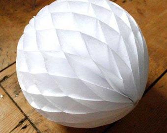 White  Honeycomb Balls in 8 inch  Weddings. summer parties. Bridal Showers Birthdays.White  Honeycomb Balls