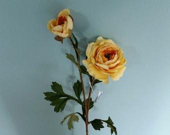 Artificial cabbage Rose yellow silk flower stem Wedding accessories DIY Bridal craft supply bouquet Centerpieces floral supplies