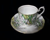 Royal Albert Snowdrop Number 1 in the Flower of the Month Series Bone China Cup and Saucer