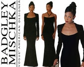 Evening Dress Pattern Uncut Vogue 2237 Badgley Mischka Formal Strapless Sheath Maxi Mermaid Fishtail Hem Bolero Jacket Womens Sewing Pattern