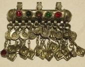 Kuchi Tube Pendant with Glass Stones & Dangles