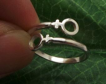 Lesbian Pride Wrap Silver Ring - Female  LGBTG Gay Pride Jewelry, LGBT Jewelry - gay pride lgbt ring, gay gift