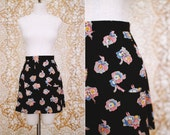vintage 1970's does 1940's high waisted floral a-line mini skirt / size xs - s