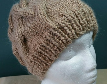 Alpaca Blend Cable Hand-Knit Ladies Hat. Super soft and Warm - Ready to be Shipped