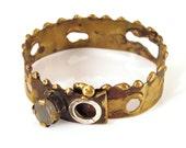 Brass Bracelet - Bangle-Moonstone bracelet-one of a kind bracelet-Statement bracelet-Cocktail bracelet