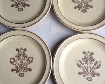 Vintage Pfaltzgraff Village Salad Plates Cream & Brown Set of 4 - #5132