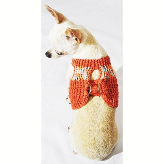 Free Crochet Pattern For Dog Harness : Hook And Loop Fastener Dog Harness Vest Hand Crocheted Earth
