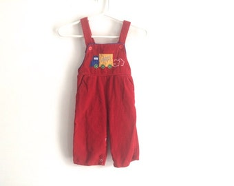 1980s baby boys truck embroidered corduroy romper / jumper