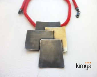 Square Necklace - Contemporary Necklace - Oxidized Silver Brass Necklace - Geometric Necklace - Cotton Cord Necklace - Statement Necklace