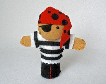 Pirate Felt Finger Puppet, Hand Stitched 3D Puppet, Adventure Play Puppet, Felt Pirate