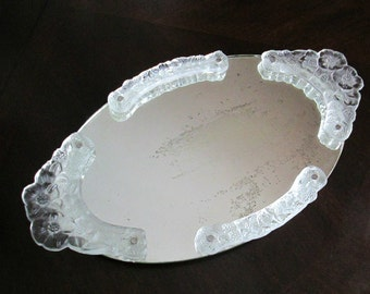 Glass Handle Mirror Tray 1940s Mid Century Bedroom Boudoir Bathroom